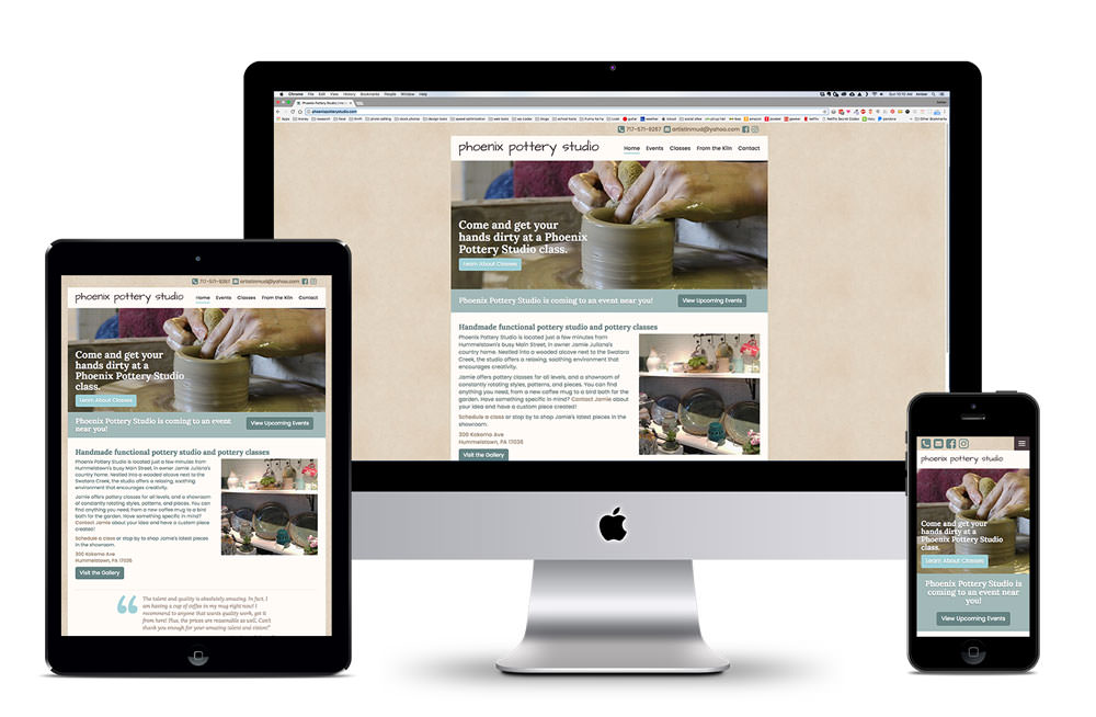Mockup of responsive design shown on computer, tablet, and phone screens.